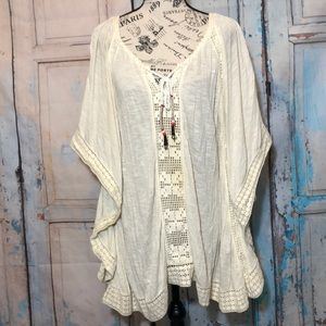Free People Gauzy Lace Tunic Top Coverup Cream